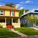 Yellow and Blue American Foursquare  Houses by Photo Dean