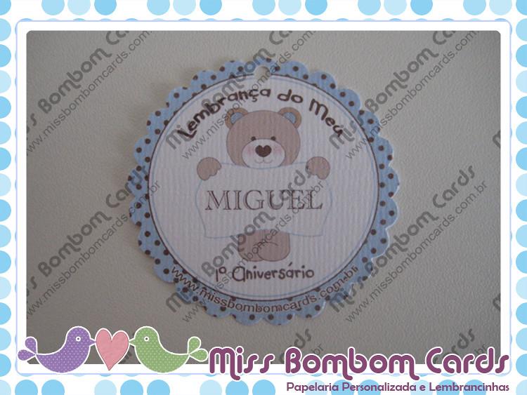 Tag para Lembrancinhas de Aniversário - Festa Urso Marrom e Azul do Miguel (Arcos/MG)