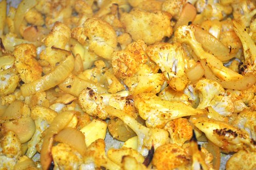 cauliflower roasted with garlic, ginger & turmeric 10