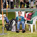 Reading with rucksack |