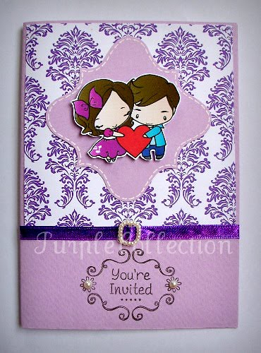 Purple damask theme wedding invitation card wwwpurplecollectionblogspot