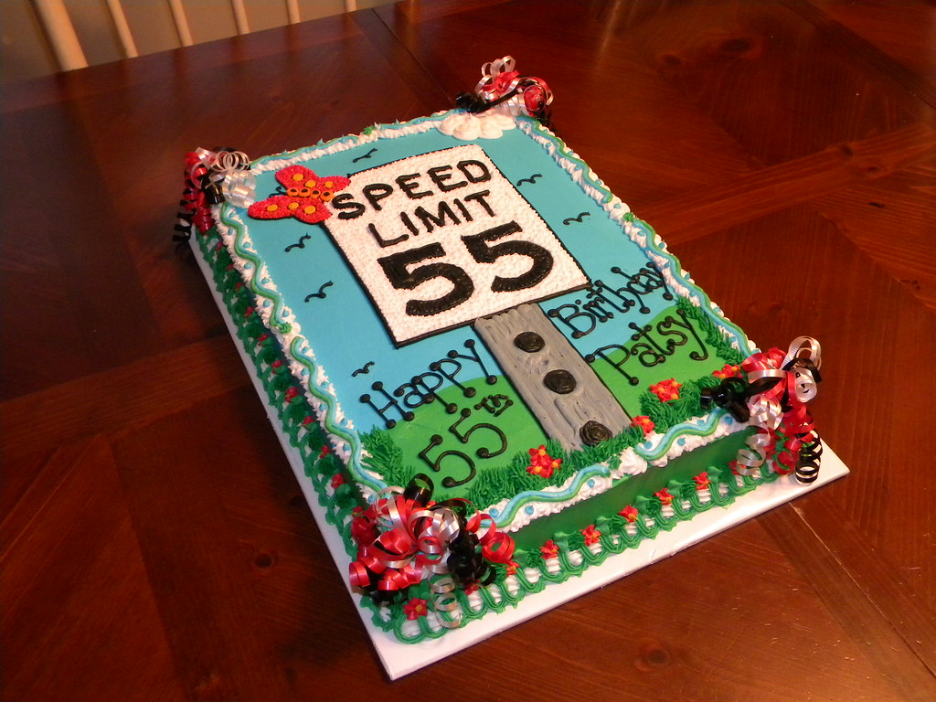 Speed Limit 55 Birthday Cake