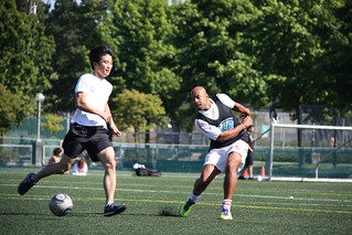 esl students playing soccer at language school in vancouver canada