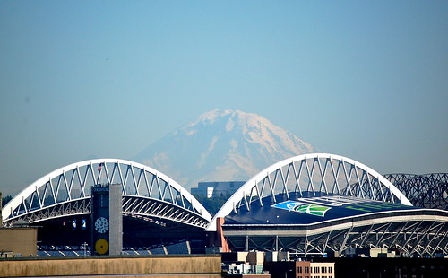 Mt. Rainier beyond Seahawks Stadium