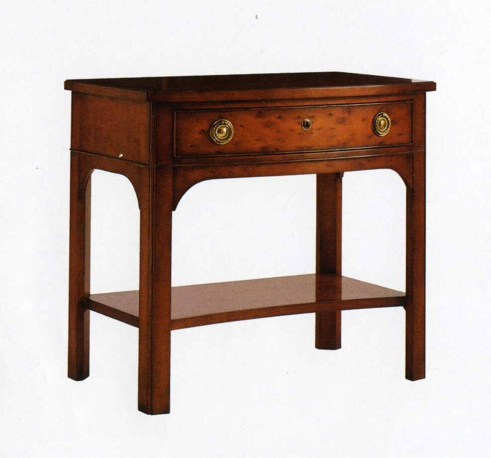 English bow front side table