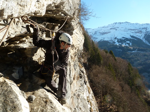 Winter via ferrata - time to enjoy the view and yes that is snow...