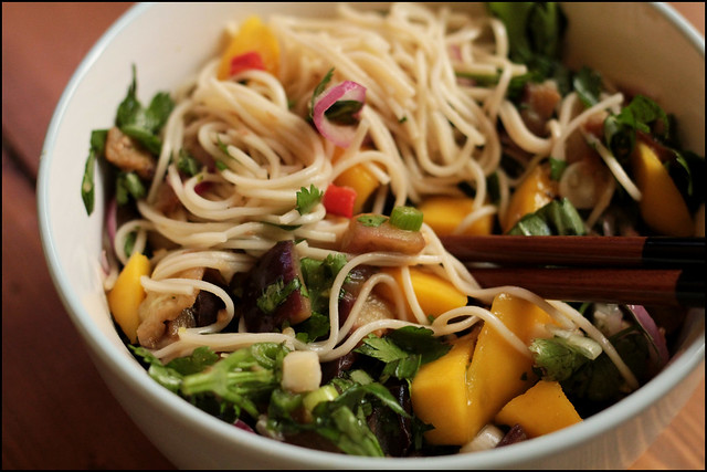 aubergine and mango cold noodle salad