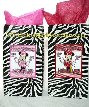 Personalized minnie mouse birthday party decorations zebra for Animal print party decoration ideas