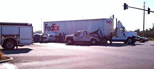 FedEx truck vs cars Menlo Park