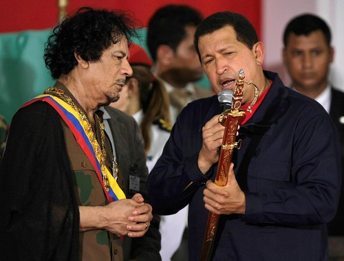 Libyan leader Muammar Gaddafi with Venezuelan President Hugo Chavez. Latin America and Africa are still prime targets of world imperialism. by Pan-African News Wire File Photos