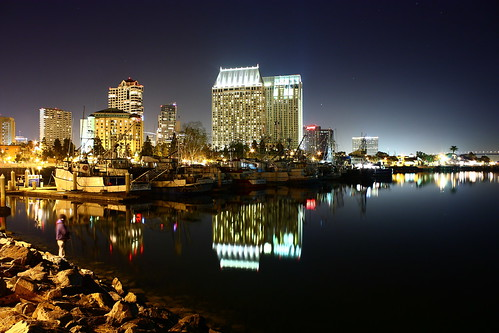 San Diego at night with a Beautiful reflection on the bay