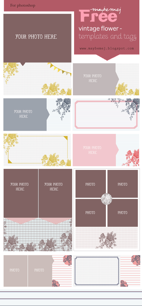 Freebie- Maybemej vintage flower template kit
