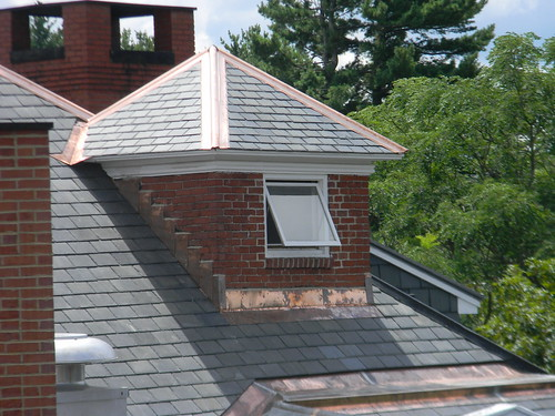 New copper flashing and seams