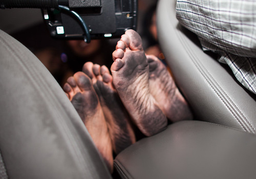 Dirty feet in a Vegas taxi