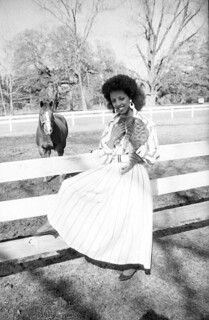 Fashion model sits on fence with a cat: Tallahassee, Florida