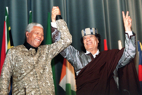 South African President Nelson Mandela with Libyan leader Muammar Gaddafi. The two leaders are recognized as pioneers in the struggle for national liberation and Pan-Africanism. by Pan-African News Wire File Photos