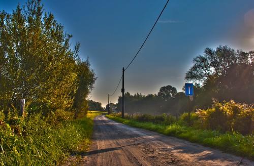 road street turn sunrise dawn belgium hiking hike trail hoegaarden hdr deadend meldert