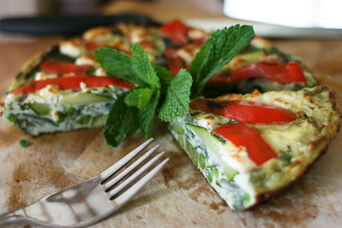 Courgette & Pea Frittata with Dill, Mint & Feta