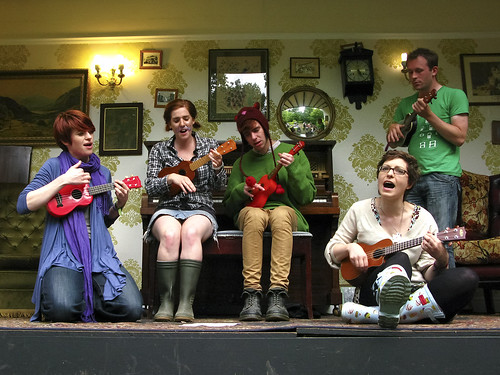 Ukuleles on the Piano in the Woods Stage by Rob (M) Andrews