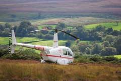 Helicopter on moor above Goathland