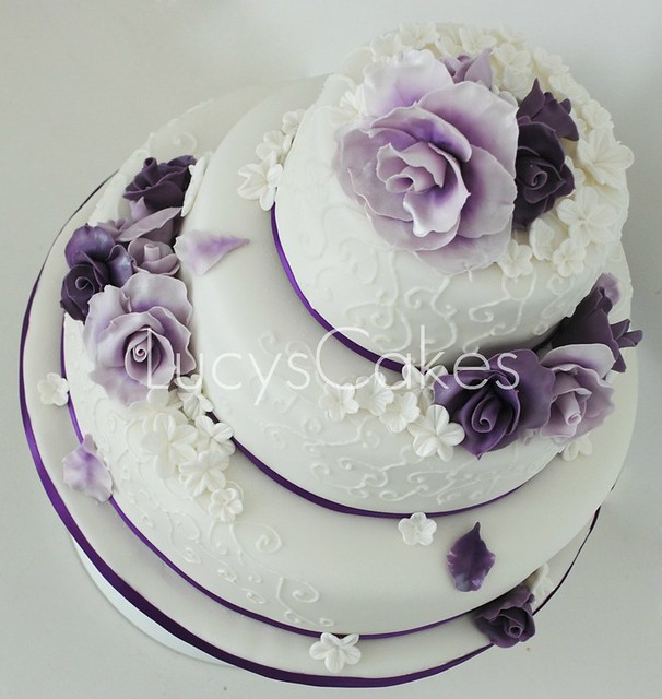 Purple And Lilac Rose Wedding Cake