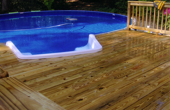 Medallion Pools St Croix Above Ground With Stair Partial Wood Deck 2 Flickr Photo Sharing
