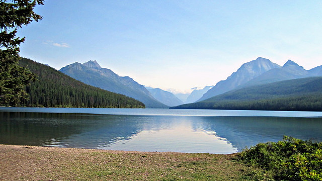 Scenic view from Bowman lake