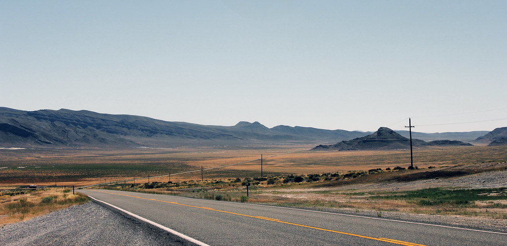 The empty expanses of the Utah/Nevada desert along Highway 50
