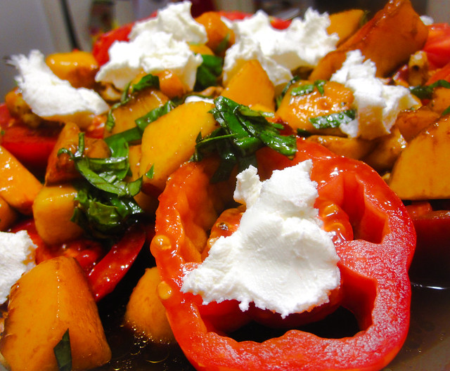 Heirloom Tomatoes, Peaches, Goat Cheese, and Walnuts | Flickr - Photo ...