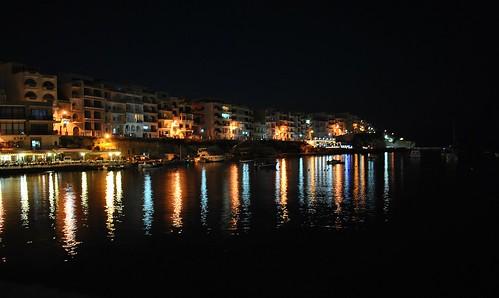 light holiday water night reflections nikon nightshot malta limestone gozo appartments marsalforn chrisshots d3000