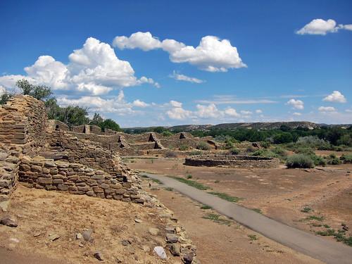 sky newmexico clouds ruins rocks aztec pueblo nativeamerican americanwest aztecruins