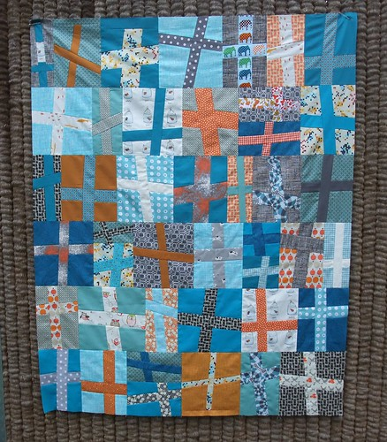 cross quilt top finished