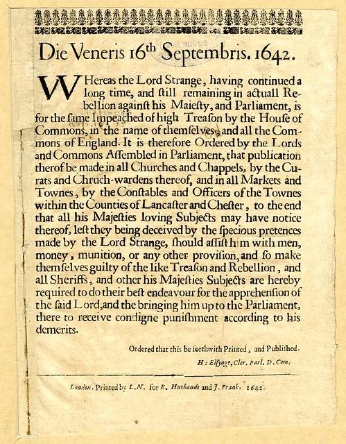Lord James Strange, 1642