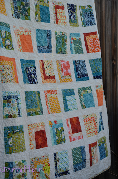 Orange and Blue Quilt Finished 2