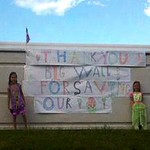 Citizens decorated a portion of the Wyoming Valley floodwall
