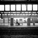 Small photo of A single man on a track at Hauptbahnhof Duisburg