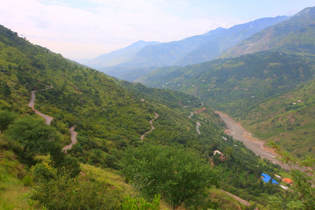 Many roads on Kashmir side of the Jhelum river near Danna village
