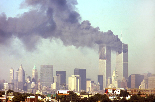 second tower on fire, 9/11