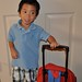 The spider man backpack that is nearly as big as he is!