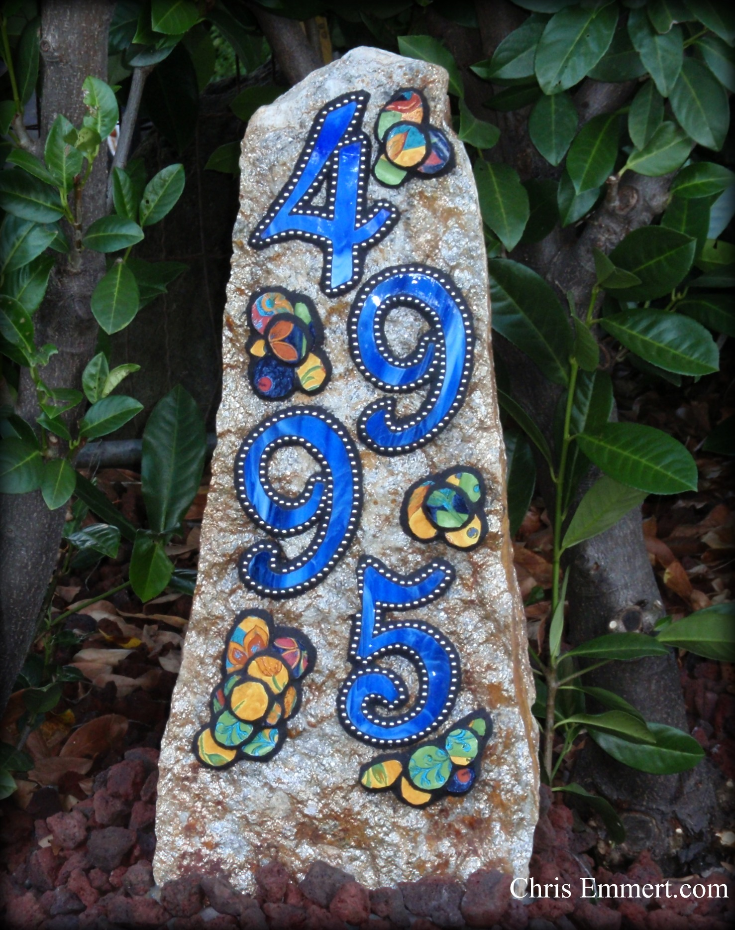 Mosaic House Numbers on Rock   Flickr - Photo Sharing!