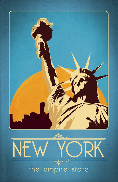 retro new york travel poster flickr photo sharing. Black Bedroom Furniture Sets. Home Design Ideas