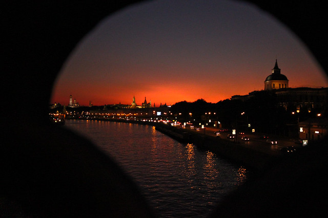 Moscow Sunset, through the Bridge (Explored)