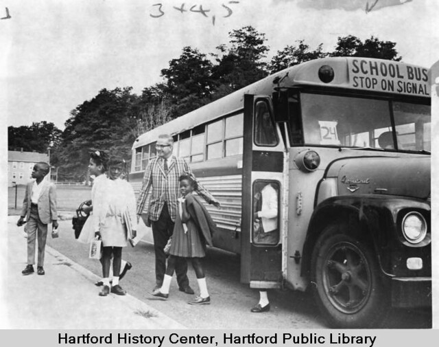 Students bused from Hartford to Suffield, 1968