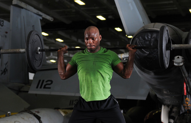 99, 100, 101: Lifting weights in the hangar bay