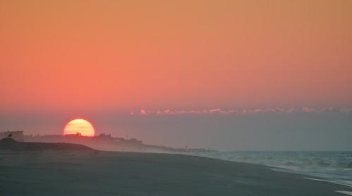 newyork beach sunrise dawn haze fireisland fairharbor fireislandnationalseashore bigballofire
