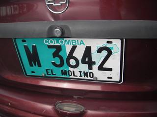 Placas de Colombia: El Molino (La Guajira)