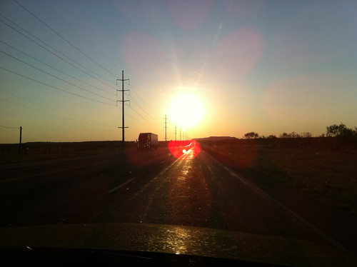 On coming truck, sunset