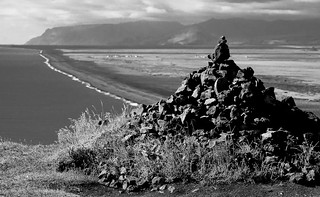 Dyrholaey Land/seascape with Cairn (B&W)