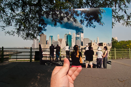 Looking Into the Past: Crowd Watching the World Trade Center Burn from the Brooklyn Promenade, September 11, 2001