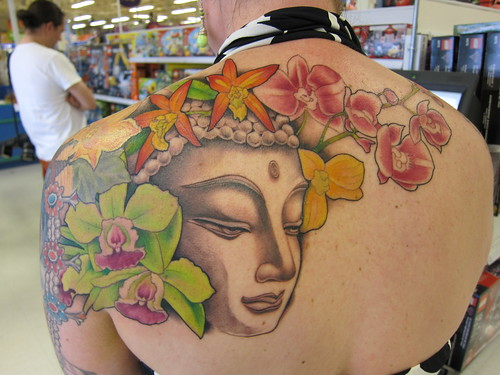 tattoo, budha, orchids, green IMG_7536